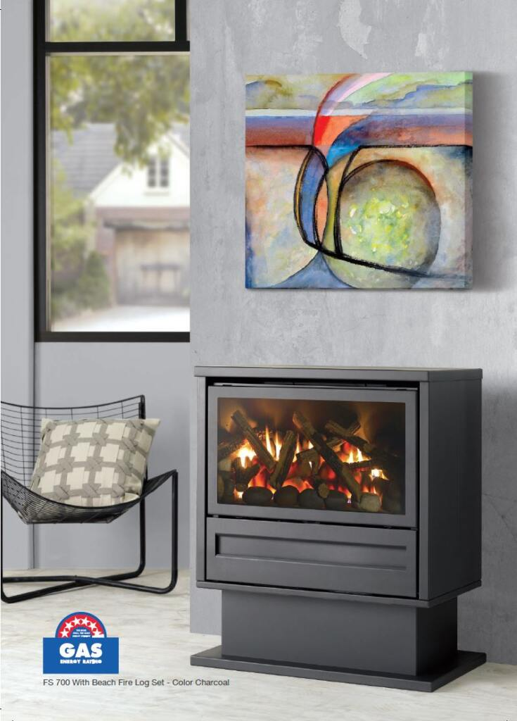 Archer Gas Log Fire in Charcoal